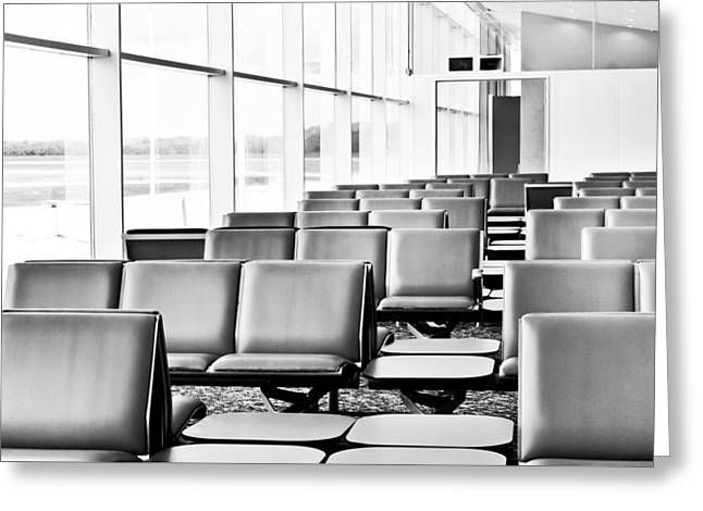 Airports Greeting Cards - Airport waiting lounge Greeting Card by Tom Gowanlock