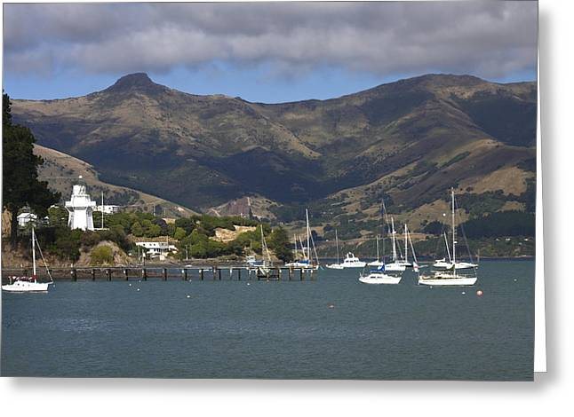 Docked Sailboats Greeting Cards - Akaroa Harbor Scene Greeting Card by Sally Weigand