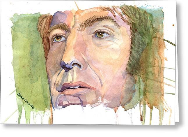 British Portraits Greeting Cards - Fan Art - Alan Rickman Greeting Card by Elena Schnaider