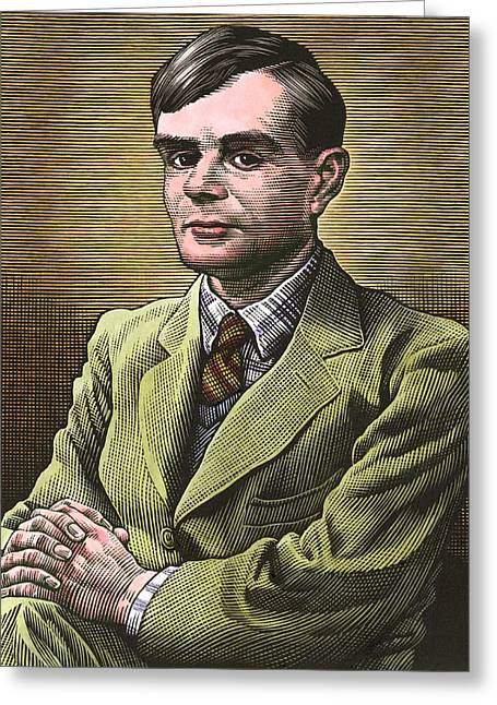 Surname T Greeting Cards - Alan Turing, British Mathematician Greeting Card by Bill Sanderson