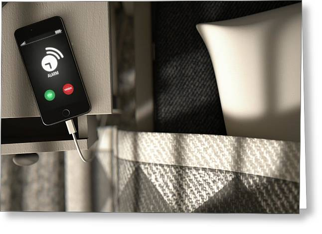 Alarming Cellphone Next To Bed Greeting Card by Allan Swart