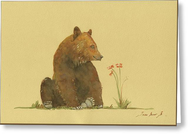 Alaskan Grizzly Bear Greeting Card by Juan Bosco