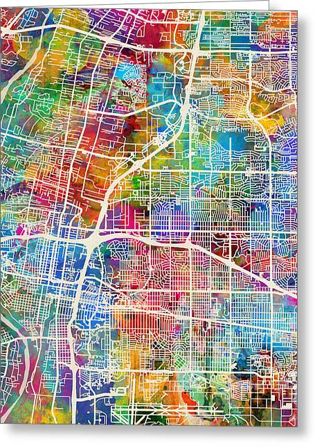 Albuquerque Greeting Cards - Albuquerque New Mexico City Street Map Greeting Card by Michael Tompsett