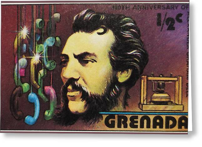 Mechanism Paintings Greeting Cards - Alexander Graham Bell  Greeting Card by Lanjee Chee