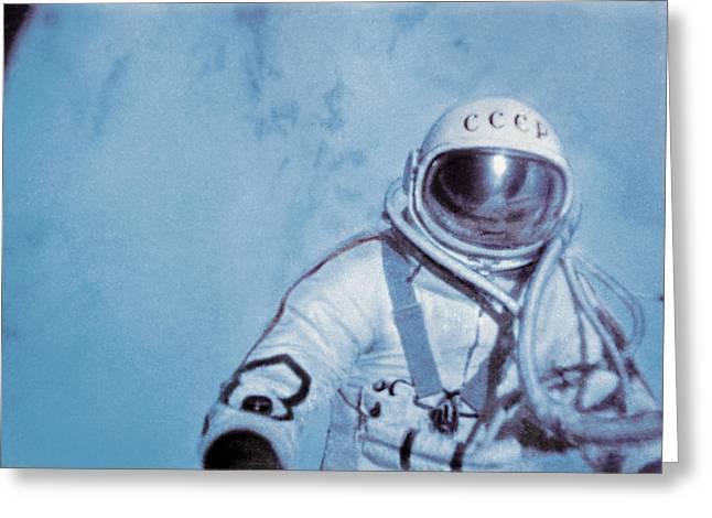 Cyrillic Greeting Cards - Alexei Leonov, First Space Walk, 1965 Greeting Card by Ria Novosti