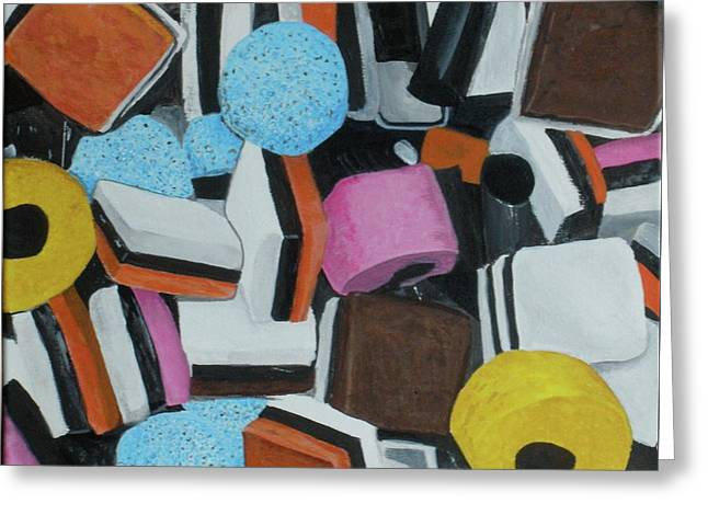 Licorice Paintings Greeting Cards - All Sorts Greeting Card by Betty-Anne McDonald