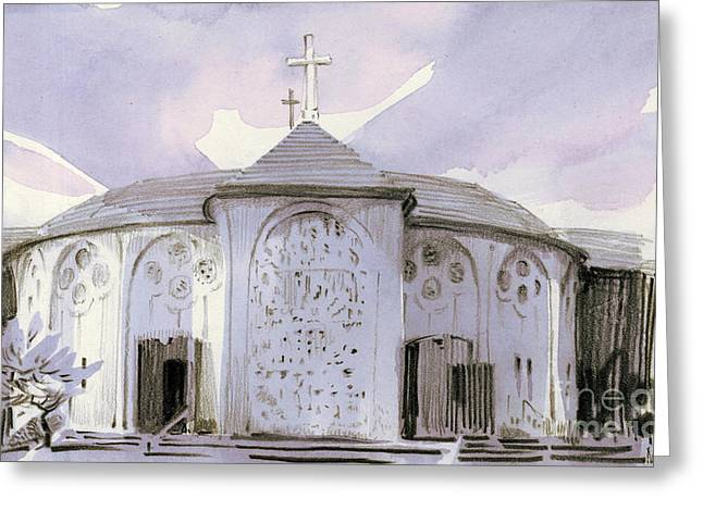 San Francisco Drawings Greeting Cards - All Souls Church Greeting Card by Donald Maier