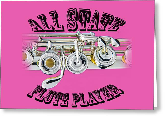 Flute Player Greeting Cards - All State Flute Player Greeting Card by M K  Miller