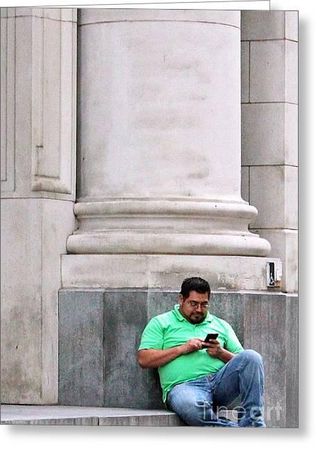Alone With The Phone Greeting Card by Joe Jake Pratt