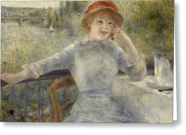 Renoir Greeting Cards - Alphonsine Fournaise Greeting Card by Auguste Renoir