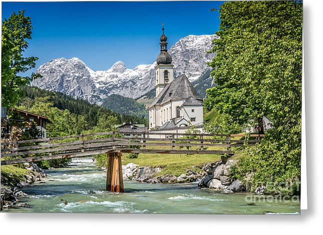 Oberbayern Greeting Cards - Alpine summer Beauty with church and river Greeting Card by JR Photography