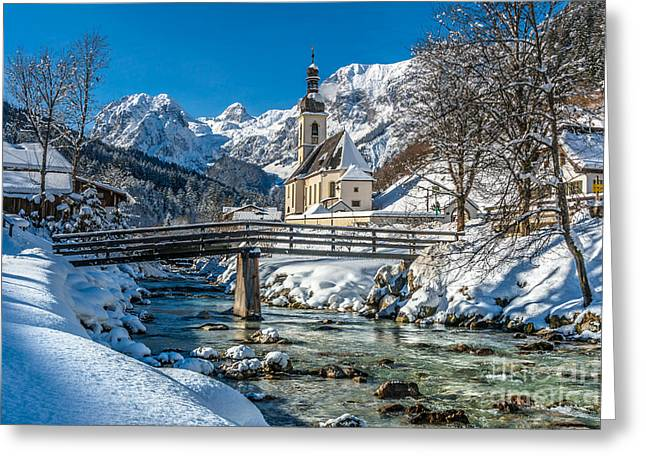 Swiss Photographs Greeting Cards - Alpine winter Beauty with snowy church and river Greeting Card by JR Photography