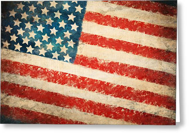 Grunge Pastels Greeting Cards - America flag Greeting Card by Setsiri Silapasuwanchai