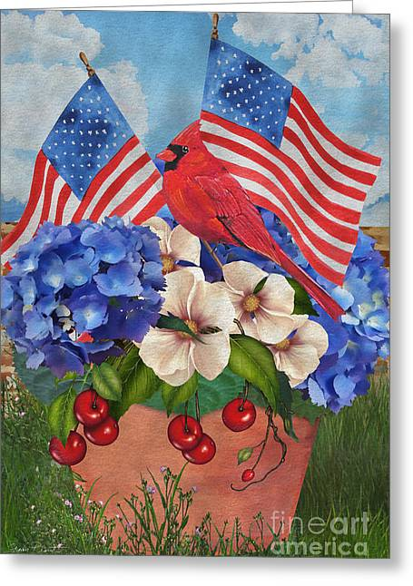 4th July Paintings Greeting Cards - America the Beautiful-JP3210 Greeting Card by Jean Plout