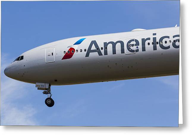 American Airlines Greeting Cards - American Airlines Boeing 777 Greeting Card by David Pyatt
