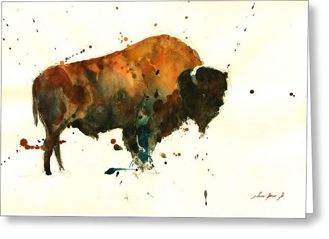 American Buffalo Greeting Cards - American buffalo watercolor Greeting Card by Juan  Bosco