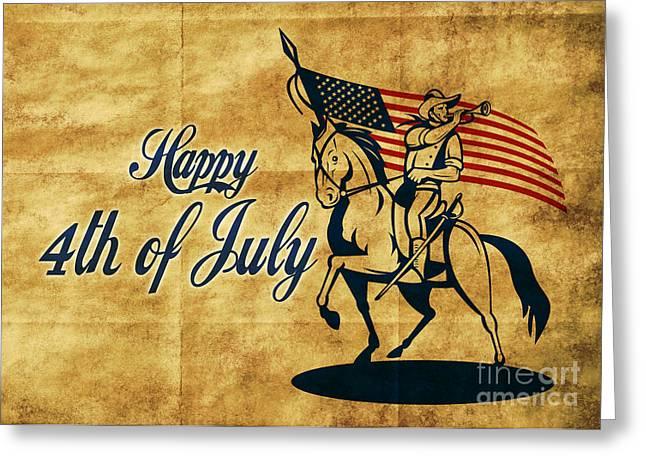 4th July Digital Greeting Cards - American cavalry soldier Greeting Card by Aloysius Patrimonio