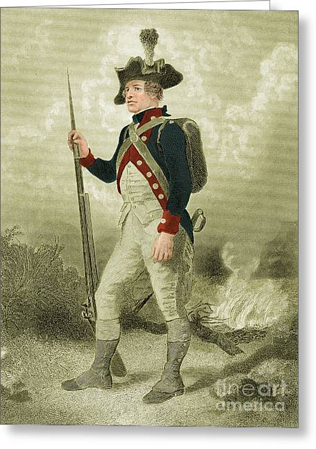 Soldier Illustrations Greeting Cards - American Continental Soldier Greeting Card by Photo Researchers
