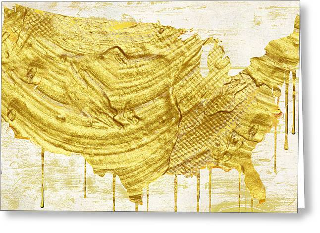 Dripping Paintings Greeting Cards - Gold American Map Greeting Card by Mindy Sommers