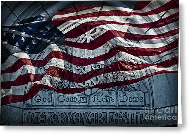 American Flag God Country Notre Dame In Glory Everlasting Greeting Card by John Stephens