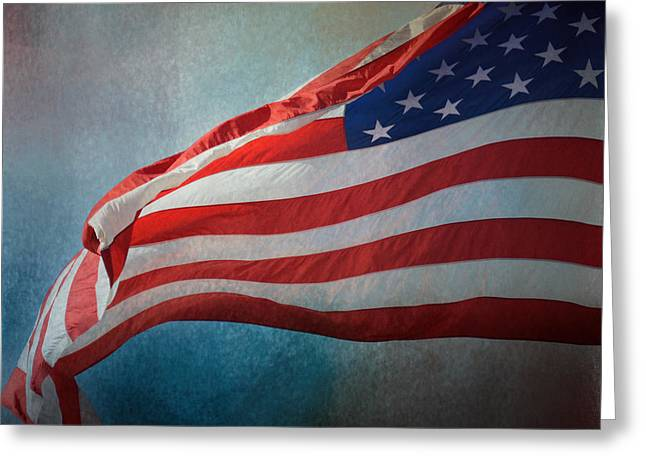 Flying Flag Greeting Cards - American Flag Greeting Card by Jai Johnson