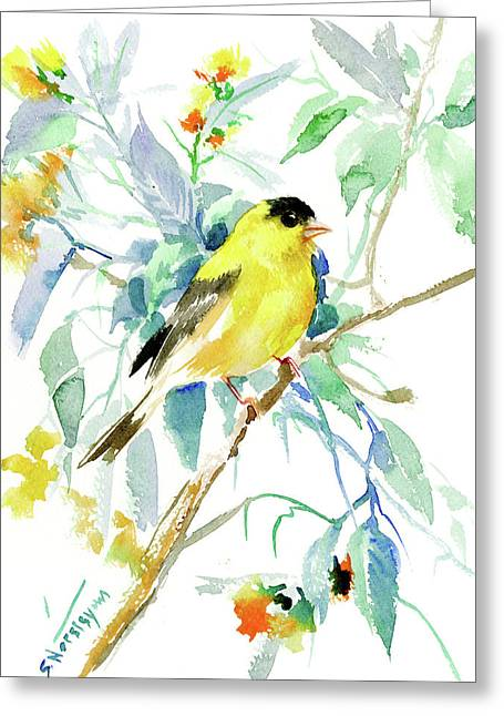 American Goldfinch Greeting Card by Suren Nersisyan