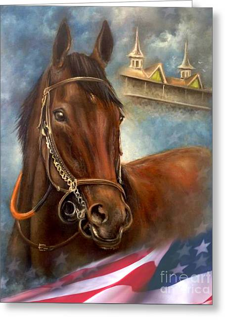 Race Horse Greeting Cards - American Pharoah Greeting Card by Patrice Torrillo