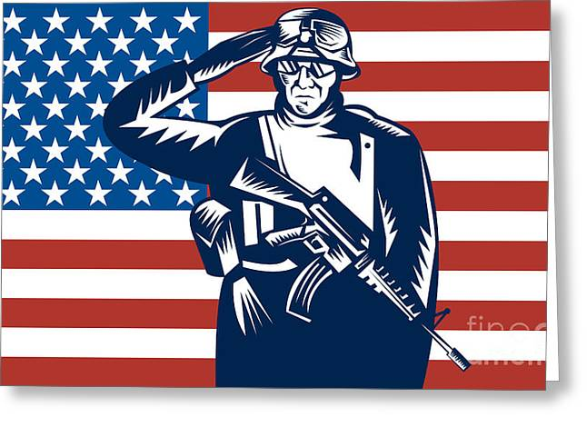 Serviceman Greeting Cards - American soldier saluting flag Greeting Card by Aloysius Patrimonio