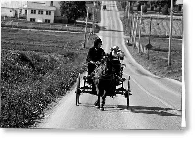 Rural Ways Of Life Greeting Cards - Amish Buggy Ride - 1980s Greeting Card by Mountain Dreams