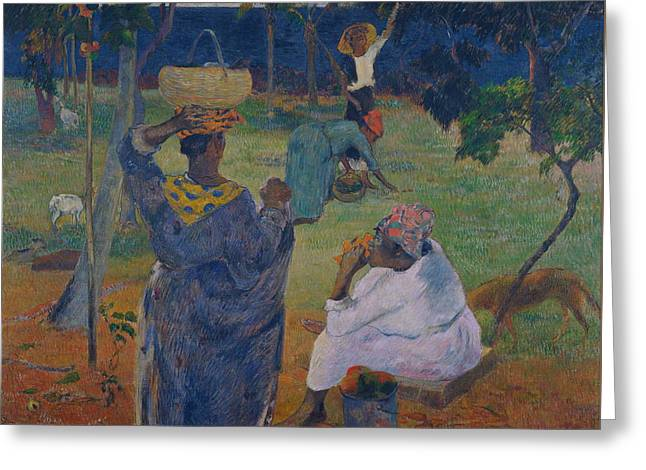 Among The Mangoes At Martinique Greeting Card by Paul Gauguin