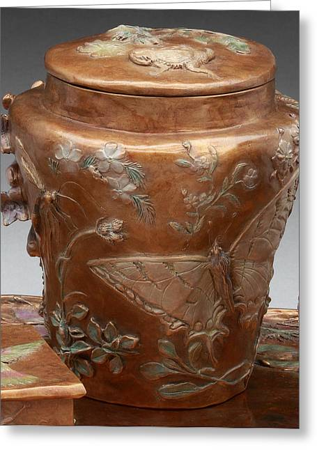 Butterflies Reliefs Greeting Cards - Among the Sagebrush - bronze vase with lid Greeting Card by Dawn Senior-Trask