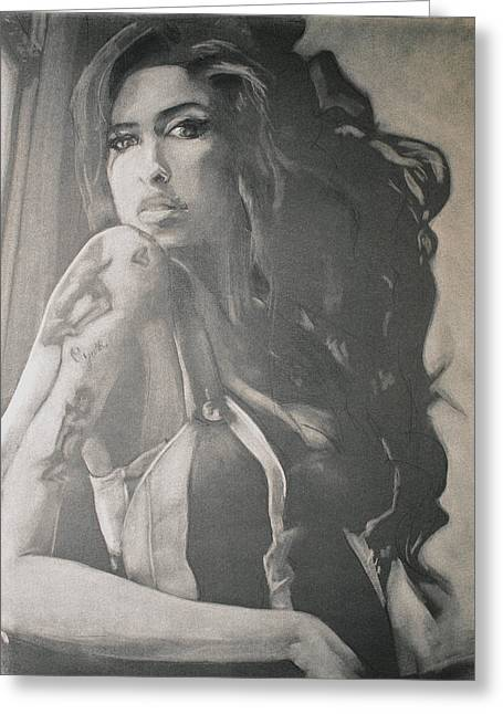 B Pastels Greeting Cards - Amy Winehouse Greeting Card by Scott Shisler