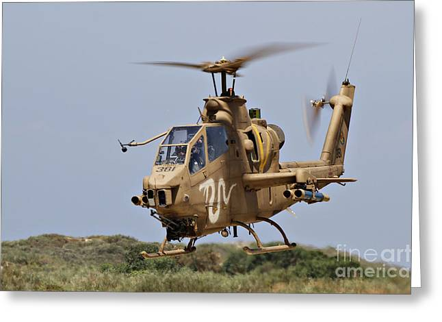 Foreign Military Greeting Cards - An Ah-1s Tzefa Attack Helicopter Greeting Card by Ofer Zidon