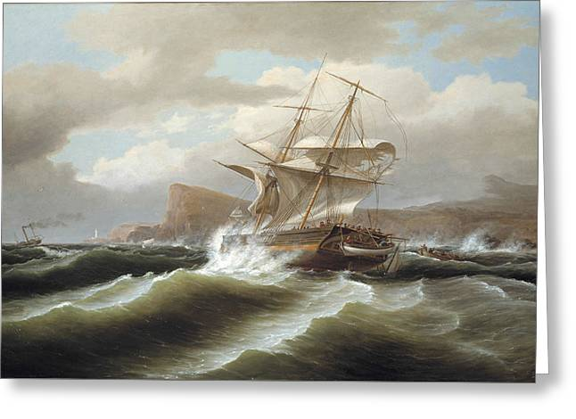 An American Ship In Distress Greeting Card by Thomas Birch