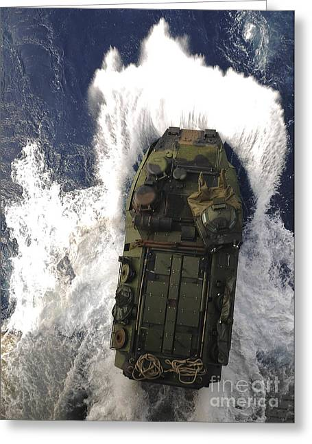 Carrier Greeting Cards - An Amphibious Assault Vehicle Exits Greeting Card by Stocktrek Images