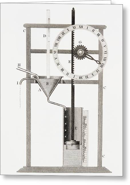 Mechanism Drawings Greeting Cards - An Ancient Clepsydra Or Water Clock Greeting Card by Vintage Design Pics