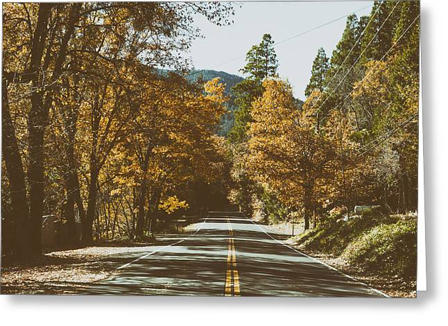 Road Travel Greeting Cards - An Autumn Drive Greeting Card by Mountain Dreams