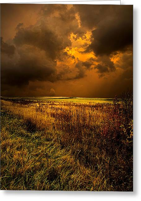 Twilight Greeting Cards - An Autumn Storm Greeting Card by Phil Koch