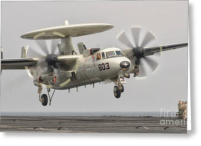 Landing Gear Greeting Cards - An E-2c Hawkeye Landing On The Flight Greeting Card by Giovanni Colla