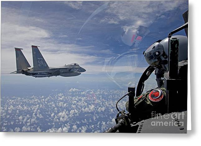 Attack Aircraft Greeting Cards - An F-15 Eagle Pilot Flies In Formation Greeting Card by HIGH-G Productions