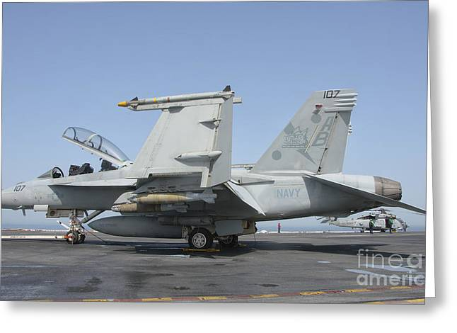 Us Open Photographs Greeting Cards - An Fa-18f Super Hornet On The Flight Greeting Card by Giovanni Colla
