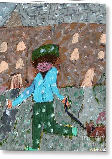 An Icy Path Greeting Card by Elinor Rakowski