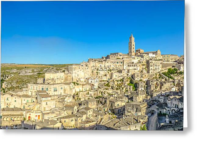 Historic Architecture Greeting Cards - Ancient town of Matera at sunset, Basilicata, Italy Greeting Card by JR Photography