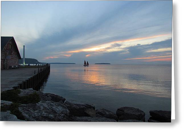 Blue Sailboats Greeting Cards - Anderson Dock Sunset Greeting Card by David T Wilkinson