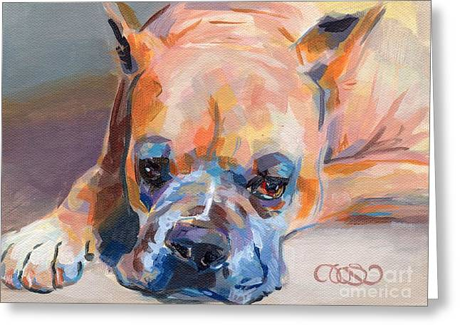 Fawn Boxer Greeting Cards - Andre Greeting Card by Kimberly Santini