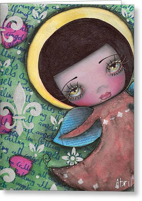 Surreal Pop. Abril Greeting Cards - Angel Girl Greeting Card by  Abril Andrade Griffith
