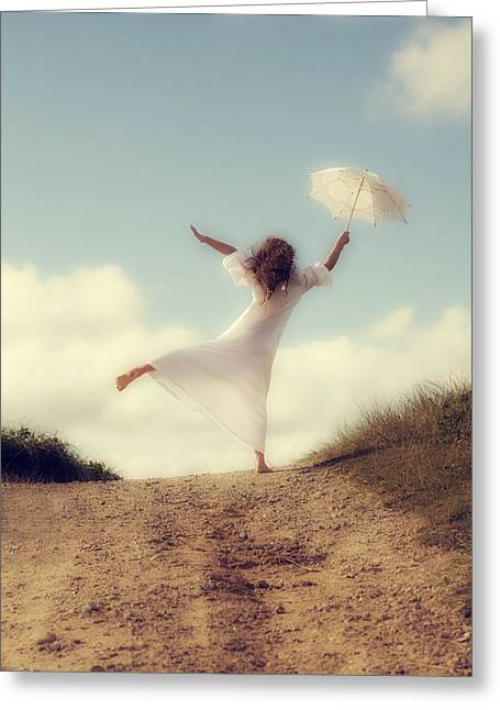 Dream Like Greeting Cards - Angel With Parasol Greeting Card by Joana Kruse