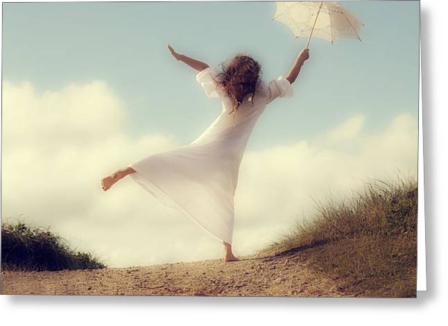 angel with parasol Greeting Card by Joana Kruse