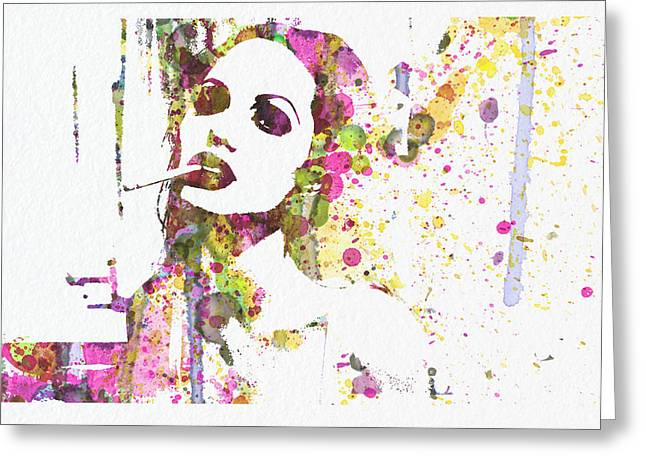 Film Watercolor Greeting Cards - Angelina Jolie 2 Greeting Card by Naxart Studio