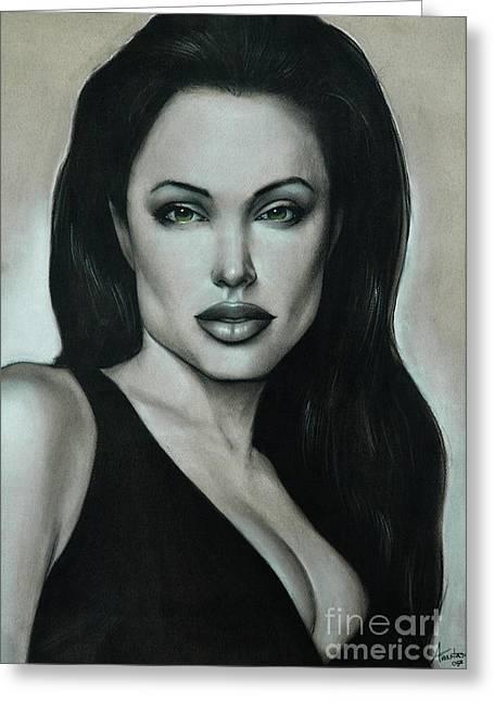 Big Pastels Greeting Cards - Angelina Jolie Greeting Card by Anastasis  Anastasi